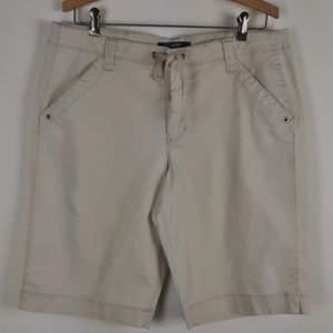 French Cuff Womens Long Khaki Shorts
